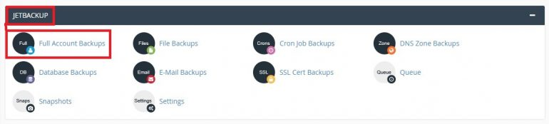 JetBackup - Restore my account from CPANEL